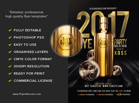 Nye Party Flyer Template 2017 Flyerheroes Ad Template 2017