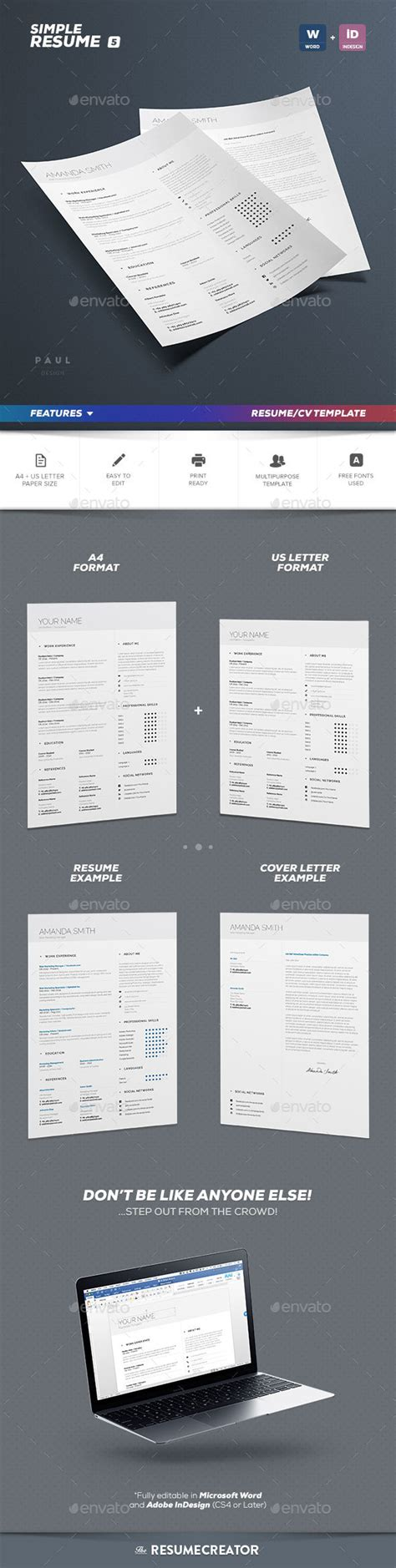 simple resume template vol 3 simple resume cv volume 5 by paolo6180 graphicriver