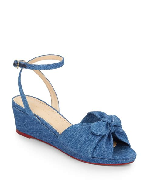 olympia sandals lyst olympia denim wedge sandals in blue