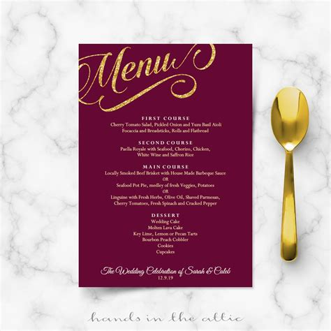 Bridal Shower Dinner Table by Maroon Burgundy And Gold Wedding Menu Template Reception