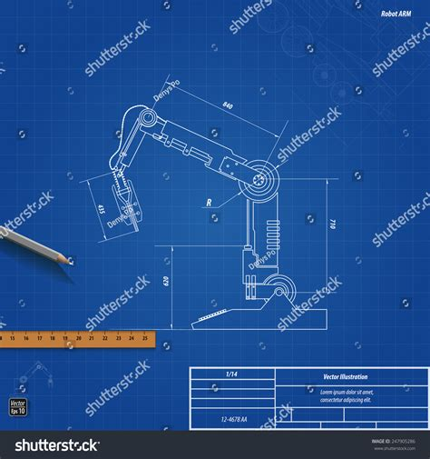 free blueprint blueprint robotic arm vector illustration eps 10