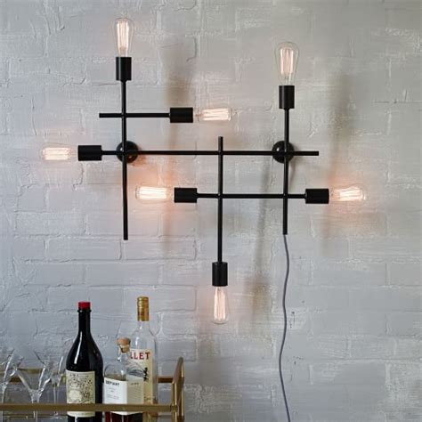 industrial wall sconce industrial grid wall sconce west elm