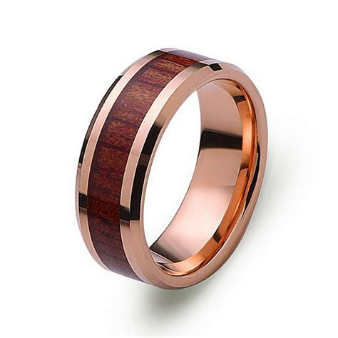 gold tungsten wedding band with wood inlay