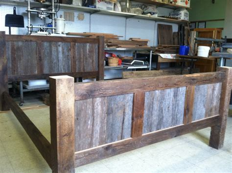 barn wood bed frame reclaimed barnwood bed frames