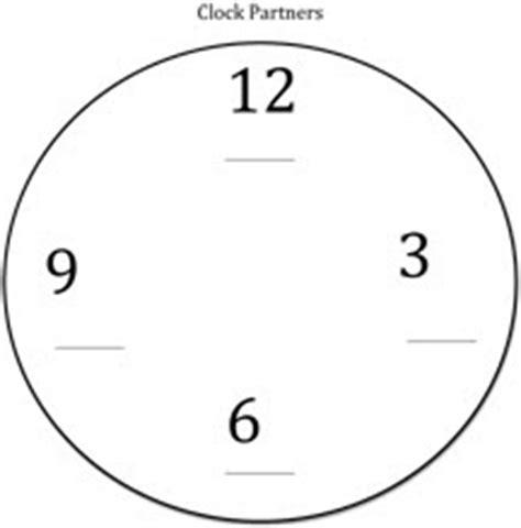 printable clock partners free things for teachers clock partners