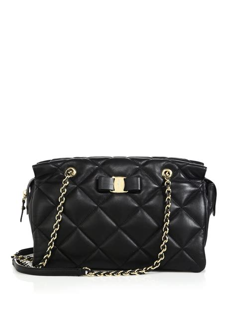 Quilted Leather Bag by Ferragamo Ginette Quilted Leather Shoulder Bag In Black Lyst