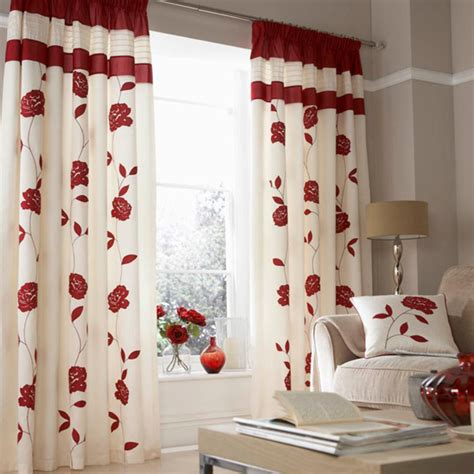 red faux silk pencil pleat lined curtains uk catherine lansfield home floral trail faux silk pencil