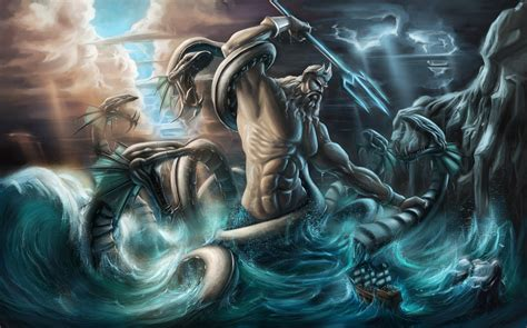 poseidon vs the kraken hd cartoons wallpapers