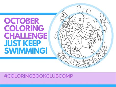 Coloring Page Challenge by October Coloring Challenge Keep Swimming