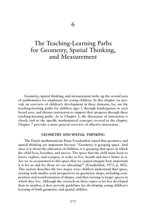 6 The Teaching-Learning Paths for Geometry, Spatial