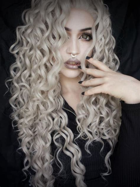 puffy wast length hair gray waist length curly synthetic lace wig sny068