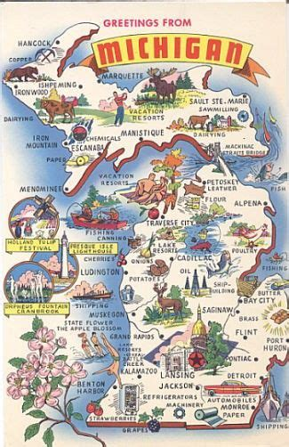 Printable Michigan Postcards   travel maps the wild and the facts on pinterest