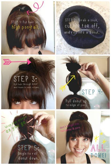 how to do diy sock hair buns with bows sock bun tutorial idieh design