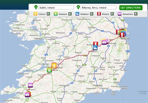printable route planner ireland maps update 800900 ireland tourist attractions map