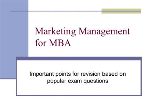 Leadership Mba Questions by Marketing Management For Mba