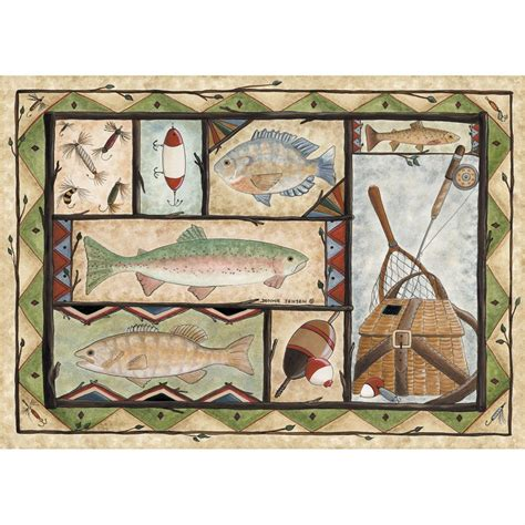 fishing rug custom printed rugs 37x52 quot fishing rug 216649 rugs at sportsman s guide