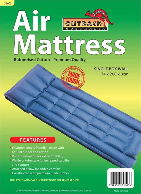 freepost rubber airbed cotton single box wall air mattress wit pillow ebay