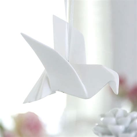 white porcelain origami dove