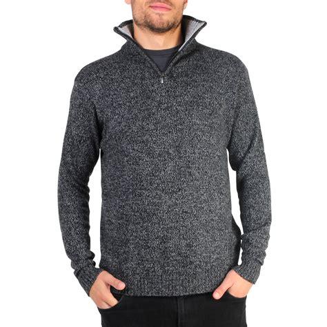 Sweater Rajut Grand Wish mens soft wool knit half zip funnel neck jumper sweater top grandad pullover top ebay