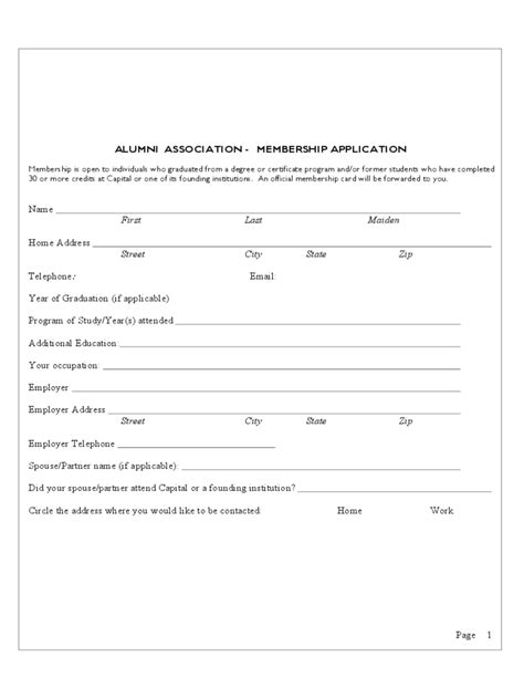 membership form template pdf alumni registration form 2 free templates in pdf word