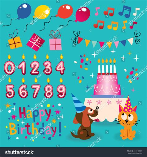 happy birthday design elements happy birthday design elements set stock vector 114740584