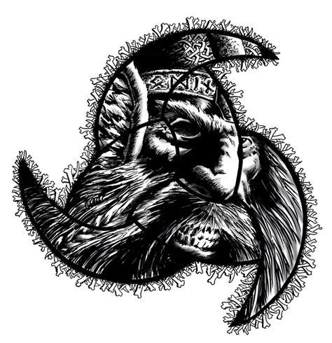 cool horns of odin tattoo on leg