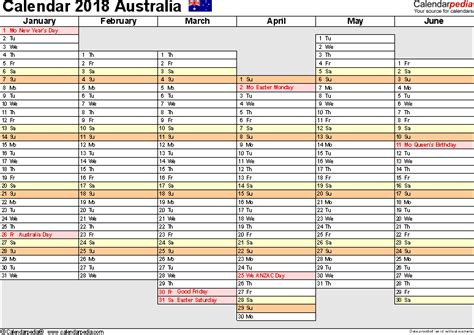 Australia Calendar 2018 Free Printable Pdf Templates Yearly Planner Template 2018