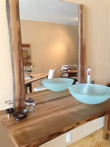 Wooden Countertops For Bathrooms Live Edge Reclaimed Wood Countertop Bathroom Vanity Powder