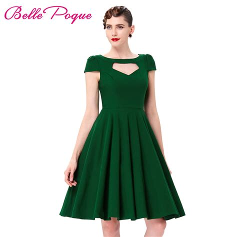 Two Dress Green Import sleeve pin up big swing 50s dress summer vintage green black hollowed front knee