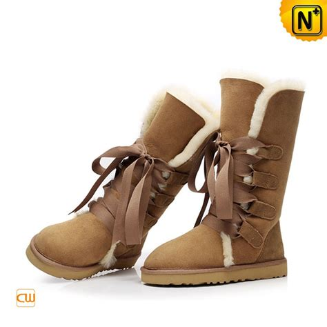brown shearling lined boots cw314403