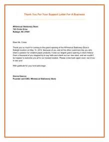 business letter thank you for your support cover letter