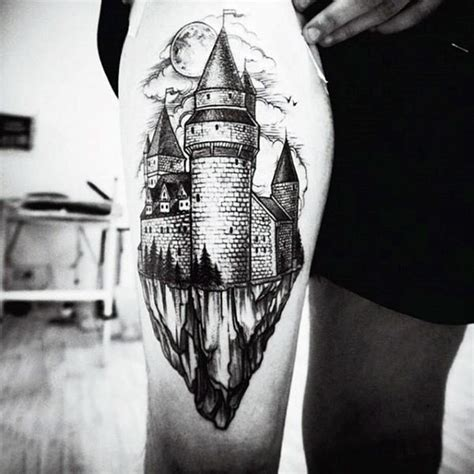medieval castle tattoo designs stunning black and white castle on thigh