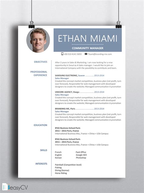 ms word resume format cv resume template ethan easycv modern resume word