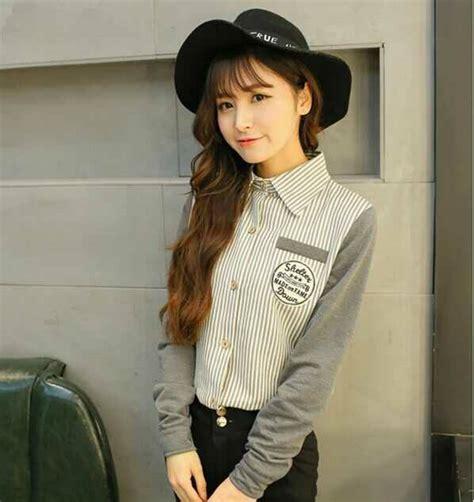 desain kemeja salur kemeja wanita motif salur belang model cantik murah