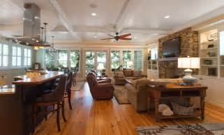 open floor plan kitchen living room traditional island home open floorplan kitchen and living
