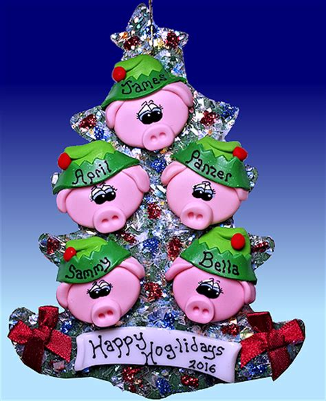pig ornaments tree pig tree ornament pig santa and elves personalized