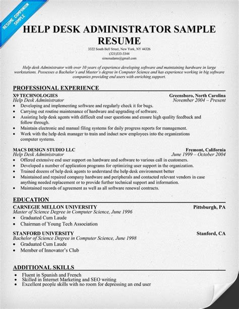 Help Desk Support Technician Sle Resume 17 Best Images About Resumes On Resume Builder Template Cover Letter Resume And