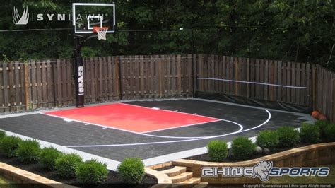 backyard pool and basketball court multi sport backyard court system synlawn photo gallery