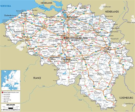 belgica map road map of belgium ezilon maps