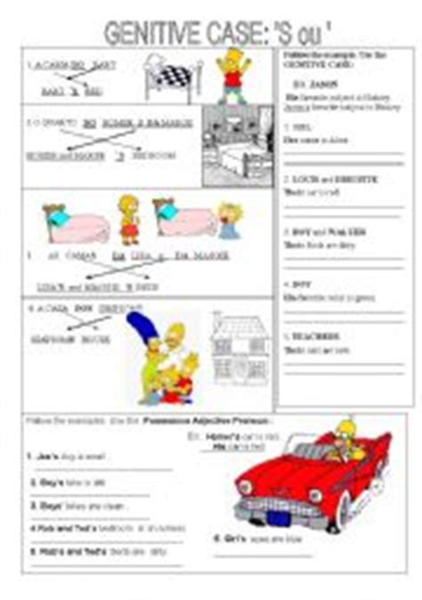 genitive case english exercises english exercises genitive possessive adjectives pronouns