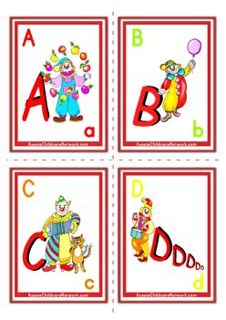 abcd cards template alphabet flashcards clowns letters aussie childcare