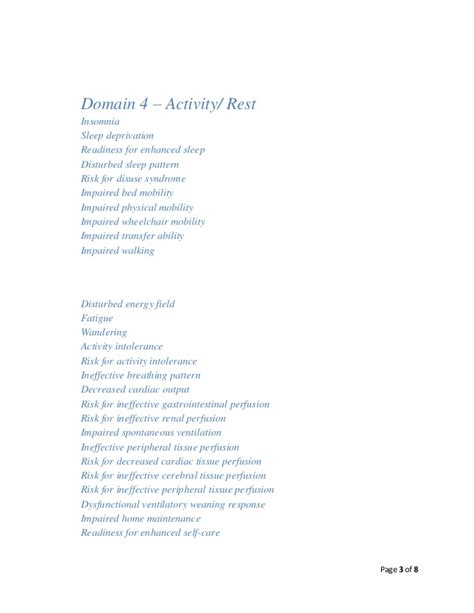 disturbed sleeping pattern nanda definition nanda nursing diagnosis list 2012