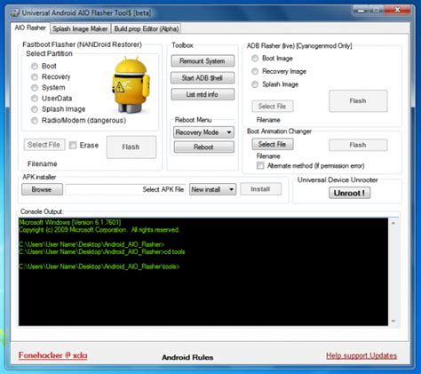 android tools and drivers universal android flasher adb fastboot unroot android devices install apk aio android tools