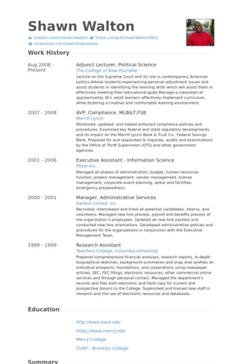 Political Resume by Adjunct Lecturer Resume Sles Visualcv Resume Sles