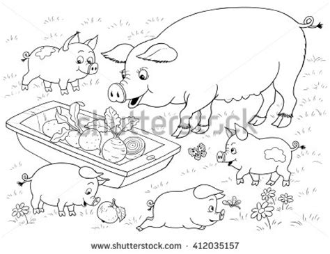 funny creature 26 pig coloring pages for kids print farm farm animals cute mother pig stock illustration