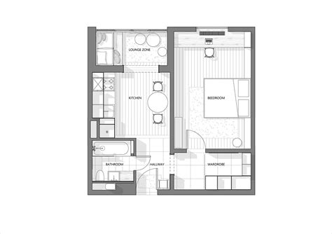 plans com 3 modern style apartments under 50 square meters includes