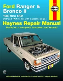 service and repair manuals 1985 ford bronco ii interior lighting haynes repair manual for ford ranger bronco li 1983 thru 1992