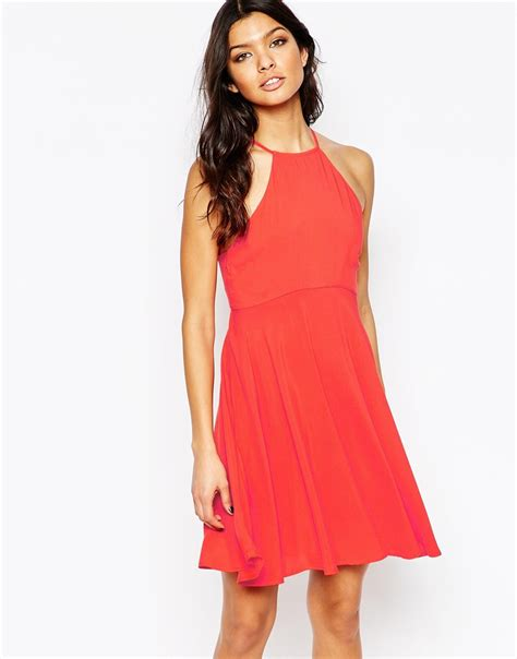 halter neck swing dress mango halter neck swing dress in red lyst