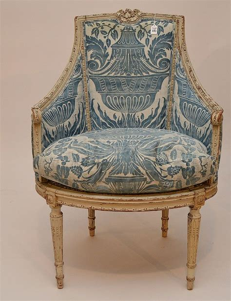 vintage french armchair painted french arm chair with blue fortuny fabric 41 h