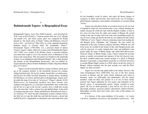Rabindranath Tagore Essay Pdf rabindranath tagore a biographical essay pdf available